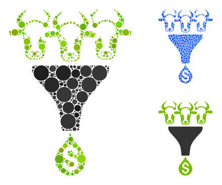 Cattle profit funnel composition of circle elements in variable sizes and color tones, based on cattle profit funnel icon. Vector circle elements are united into blue composition. Illusztráció