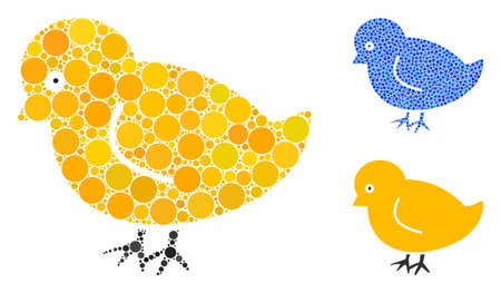 Nestling chick mosaic of small circles in various sizes and color tones, based on nestling chick icon. Vector random circles are united into blue mosaic.