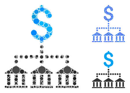 Bank scheme composition of small circles in various sizes and color tinges, based on bank scheme icon. Vector small circles are combined into blue mosaic. Illusztráció