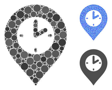 Clock marker composition of spheric dots in variable sizes and color tints, based on clock marker icon. Vector dots are combined into blue composition. Ilustrace