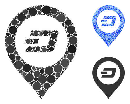 Dash map pointer composition of filled circles in variable sizes and shades, based on Dash map pointer icon. Vector filled circles are composed into blue illustration. Ilustrace