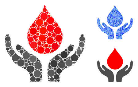 Blood donation hands mosaic of filled circles in different sizes and color hues, based on blood donation hands icon. Vector filled circles are united into blue mosaic.