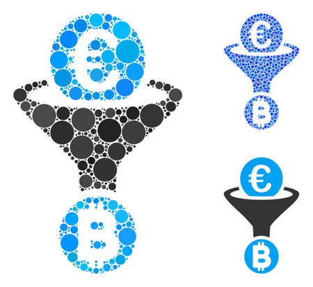 Euro Bitcoin conversion funnel composition of filled circles in variable sizes and color hues, based on Euro Bitcoin conversion funnel icon. Vector filled circles are combined into blue illustration. Illusztráció