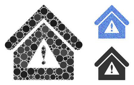 Warning building mosaic of circle elements in variable sizes and color tints, based on warning building icon. Vector circle elements are composed into blue illustration.