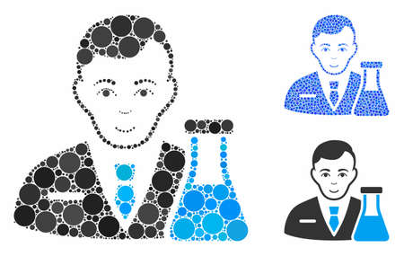 Chemistry man mosaic of filled circles in different sizes and color tints, based on chemistry man icon. Vector random circles are grouped into blue mosaic.