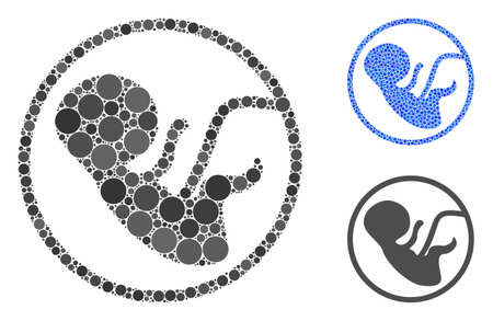 Human embryo composition of round dots in different sizes and shades, based on human embryo icon. Vector dots are combined into blue illustration. Dotted human embryo icon in usual and blue versions. Illustration