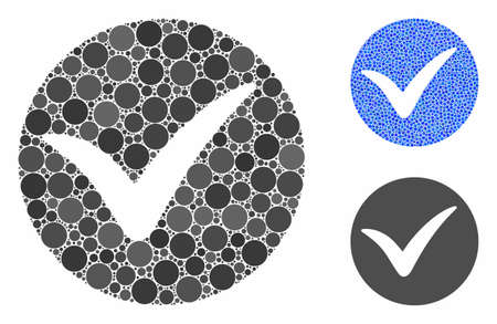 Apply composition of round dots in various sizes and color tinges, based on apply icon. Vector round dots are grouped into blue mosaic. Dotted apply icon in usual and blue versions.