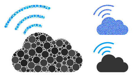 Wi-Fi cloud mosaic of round dots in various sizes and shades, based on Wi-Fi cloud icon. Vector round dots are combined into blue collage. Dotted Wi-Fi cloud icon in usual and blue versions.