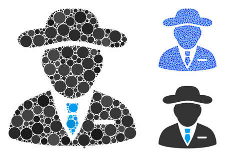 Agent composition of round dots in different sizes and color hues, based on agent icon. Vector round dots are combined into blue collage. Dotted agent icon in usual and blue versions. Vektoros illusztráció