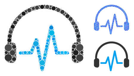Listen composition of filled circles in variable sizes and color tones, based on listen icon. Vector filled circles are grouped into blue mosaic. Dotted listen icon in usual and blue versions.