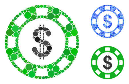 Dollar casino chip composition of filled circles in variable sizes and color tinges, based on dollar casino chip icon. Vector filled circles are united into blue composition.