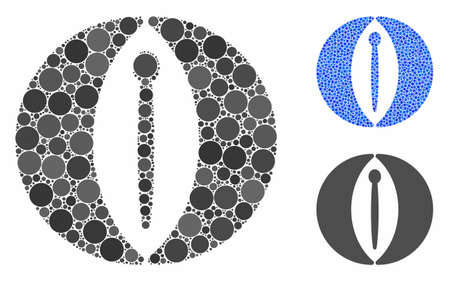 Female genitals composition of filled circles in various sizes and color tinges, based on female genitals icon. Vector filled circles are united into blue mosaic. Banque d'images - 133434835