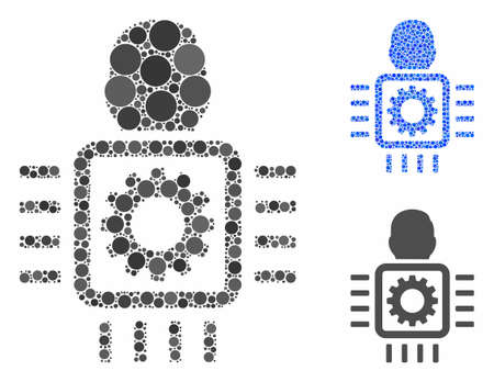 Cyborg processor composition of round dots in different sizes and color tones, based on cyborg processor icon. Vector round dots are grouped into blue illustration. 일러스트