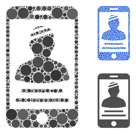 Patient mobile mosaic of spheric dots in variable sizes and shades, based on patient mobile icon. Vector circle elements are composed into blue mosaic.