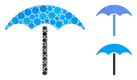 Umbrella mosaic of filled circles in different sizes and color tinges, based on umbrella icon. Vector filled circles are organized into blue mosaic. Dotted umbrella icon in usual and blue versions. Illustration