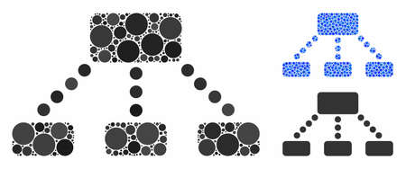 Hierarchy mosaic of small circles in variable sizes and color tinges, based on hierarchy icon. Vector small circles are organized into blue mosaic. Dotted hierarchy icon in usual and blue versions.