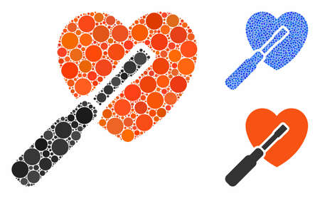 Heart tuning composition of filled circles in different sizes and color tinges, based on heart tuning icon. Vector filled circles are combined into blue composition.