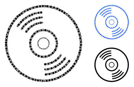 Music disk composition of filled circles in variable sizes and color tones, based on music disk icon. Vector filled circles are organized into blue collage. Reklamní fotografie - 133434854