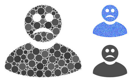 Sad man composition of circle elements in different sizes and color tinges, based on sad man icon. Vector circle elements are combined into blue composition.