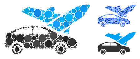 Transport mosaic of small circles in different sizes and color tints, based on transport icon. Vector small circles are united into blue mosaic. Dotted transport icon in usual and blue versions.