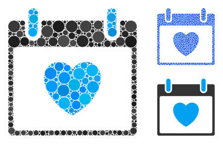 Favourite heart calendar day mosaic of circle elements in variable sizes and color hues, based on favourite heart calendar day icon. Vector circle elements are composed into blue mosaic.