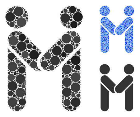 Persons handshake composition of round dots in different sizes and color tones, based on persons handshake icon. Vector round elements are organized into blue composition.