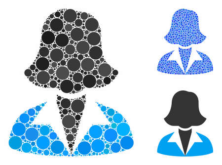 Office lady composition of circle elements in different sizes and color tinges, based on office lady icon. Vector round elements are organized into blue composition.