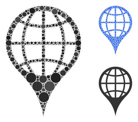 Global location composition of small circles in different sizes and shades, based on global location icon. Vector small circles are composed into blue collage.