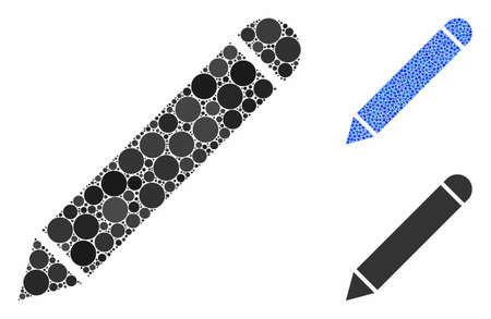Pencil composition of round dots in different sizes and color hues, based on pencil icon. Vector round dots are combined into blue composition. Dotted pencil icon in usual and blue versions.