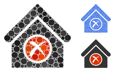 Erase building mosaic of circle elements in various sizes and color tinges, based on erase building icon. Vector circle elements are united into blue illustration. Фото со стока - 133434867
