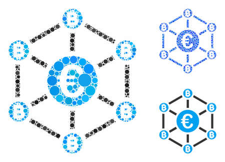 Euro Bitcoin network composition of small circles in various sizes and color tones, based on Euro Bitcoin network icon. Vector random circles are organized into blue composition.