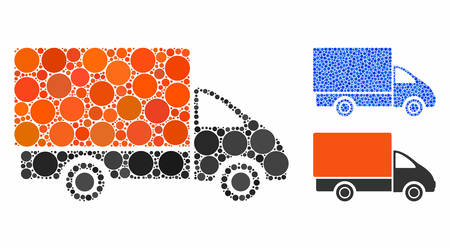 Shipment car mosaic of filled circles in various sizes and shades, based on shipment car icon. Vector filled circles are grouped into blue collage. Dotted shipment car icon in usual and blue versions. Stok Fotoğraf - 133434875