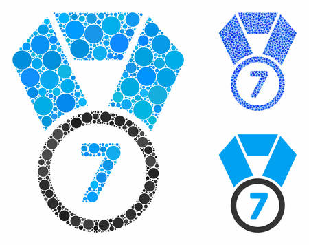 7th place medal mosaic of round dots in different sizes and color tones, based on 7th place medal icon. Vector round dots are united into blue mosaic.