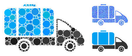 Tank truck mosaic of round dots in different sizes and shades, based on tank truck icon. Vector round dots are composed into blue composition. Dotted tank truck icon in usual and blue versions. Çizim