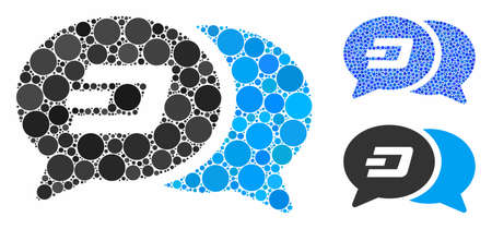 Dash chat messages mosaic of small circles in variable sizes and color tones, based on Dash chat messages icon. Vector small circles are combined into blue collage.