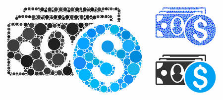 Cash composition of circle elements in various sizes and shades, based on cash icon. Vector circle elements are grouped into blue illustration. Dotted cash icon in usual and blue versions.