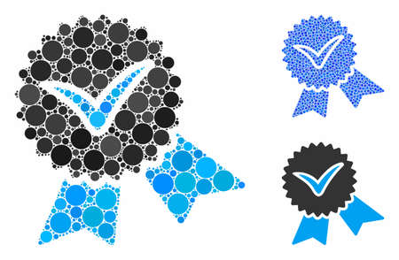 Validation seal mosaic of round dots in variable sizes and color tinges, based on validation seal icon. Vector round elements are organized into blue illustration.