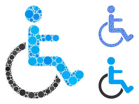 Disabled person composition of round dots in different sizes and color hues, based on disabled person icon. Vector round elements are combined into blue composition.