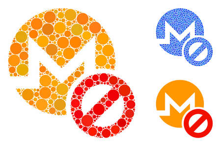Forbidden Monero composition of small circles in variable sizes and color hues, based on forbidden Monero icon. Vector small circles are organized into blue composition. Фото со стока - 133434900