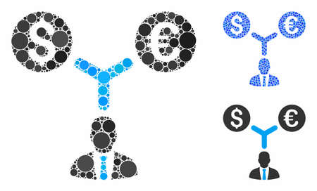 Currency management mosaic of spheric dots in various sizes and color tints, based on currency management icon. Vector round dots are composed into blue mosaic.