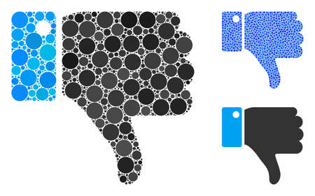 Thumb down mosaic of filled circles in different sizes and color tones, based on thumb down icon. Vector filled circles are united into blue mosaic. Dotted thumb down icon in usual and blue versions. Illustration
