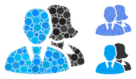 People mosaic of filled circles in variable sizes and color hues, based on people icon. Vector filled circles are grouped into blue illustration. Dotted people icon in usual and blue versions.
