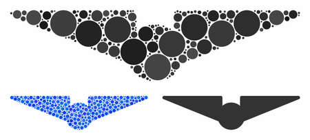 Aviation mosaic of spheric dots in various sizes and shades, based on aviation icon. Vector circle elements are organized into blue mosaic. Dotted aviation icon in usual and blue versions. 版權商用圖片 - 133434910