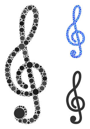 Treble clef mosaic of round dots in different sizes and shades, based on treble clef icon. Vector dots are grouped into blue mosaic. Dotted treble clef icon in usual and blue versions.