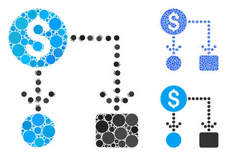 Cashflow composition of round dots in different sizes and color tones, based on cashflow icon. Vector circle elements are grouped into blue composition.