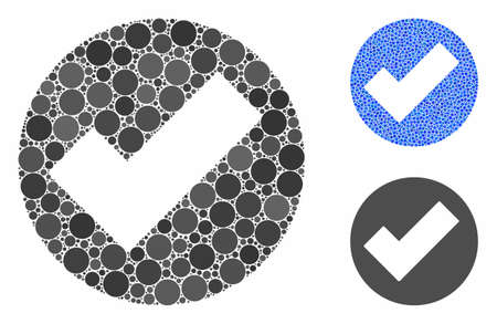 Apply composition of small circles in different sizes and color hues, based on apply icon. Vector random circles are organized into blue composition. Dotted apply icon in usual and blue versions. Stock Illustratie