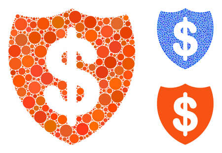 Deposit insurance mosaic of round dots in different sizes and color tinges, based on deposit insurance icon. Vector round dots are composed into blue collage.