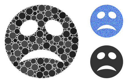 Depression smiley mosaic of round dots in variable sizes and color tones, based on depression smiley icon. Vector round elements are grouped into blue mosaic. Ilustracja