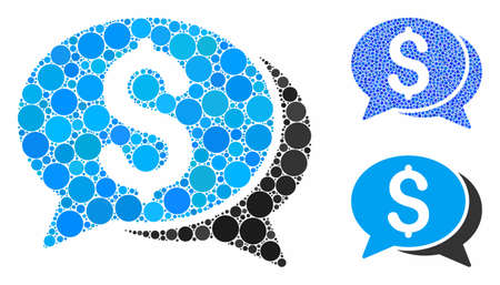 Financial chat composition of filled circles in variable sizes and color hues, based on financial chat icon. Vector filled circles are organized into blue composition.