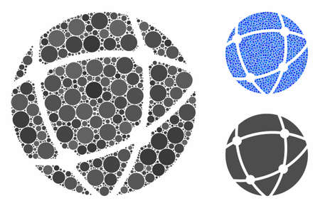 Network mosaic of circle elements in variable sizes and color hues, based on network icon. Vector circle elements are combined into blue illustration. Dotted network icon in usual and blue versions.